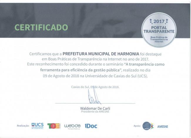 Harmonia é reconhecida no Portal Transparente