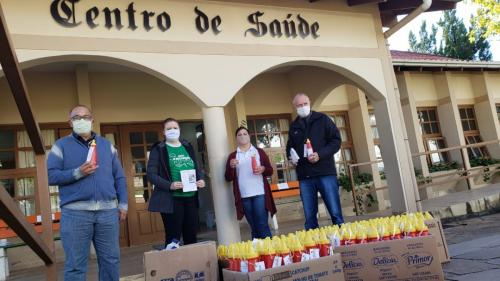 Harmonia recebe 60 litros de álcool antisséptico do IFRS de Feliz