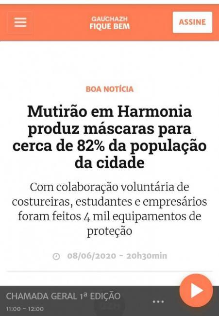 Harmonia é destaque em GaúchaZH