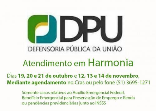 Defensoria Pública da União atenderá pendências do Auxílio ou Benefício Emergencial e do INSS em Harmonia