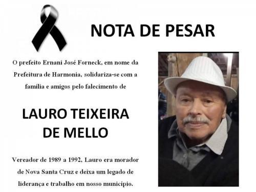 Nota de pesar pela morte de Lauro Teixeira de Mello