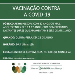 Vacinação contra a Covid-19: agora é a vez dos harmonienses com 32 anos, adolescentes com comorbidades e lactantes com bebês de até um ano
