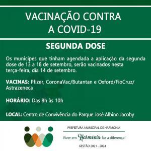 Terça-feira será de aplicação da segunda dose da vacina contra a Covid-19