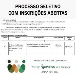 Processo Seletivo com inscrições abertas
